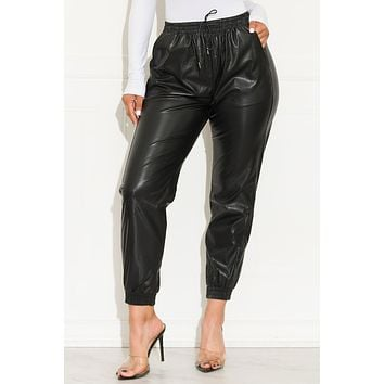 Sweet Memories Faux Leather Jogger Black