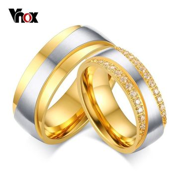 Vnox Women Men Engagement Ring Engrave Name Luxury CZ Zirconia Gold-color Wedding Ring Love Jewelry US Size