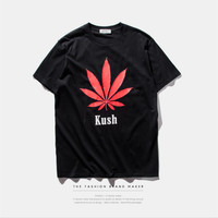 "Black ""Kush"" Letter and Leaf Print T-Shirt"