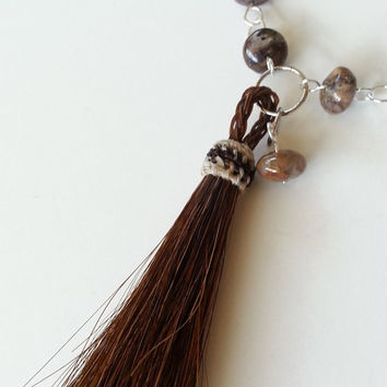 Jewelry - Necklace - Tassel Necklace - Tassel Jewelry - Horsehair Tassel - Beaded Chain - Multi Strand Leather - Petersite Beads