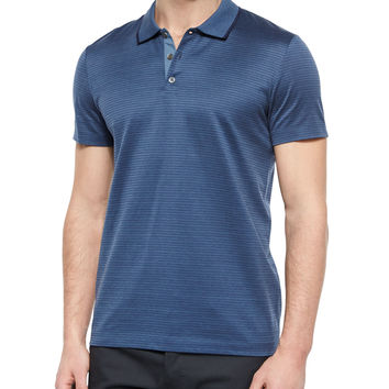 Boyd Striped Short-Sleeve Polo Shirt, Blue, Size: