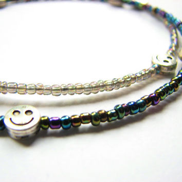 Two Delicate Anklets Bead Summer Fashion Jewelry Hippie Ankle Bracelet - Smiley Face