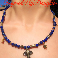 Lapis lazuli necklace with bronze and gold beads elephant pendant swirly closure handmade