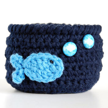 Baby boy nursery, baby room decor, fish theme, crocheted bowl, dark blue basket, baby shower gift, storage, nautical room decor, sea life