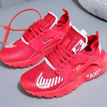OFF White x Nike Air Huarache Men and Women Love Motion Gym Shoes