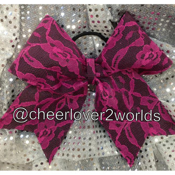 Cheer Bow - Pink Lace Cheerleading Dance Ribbon