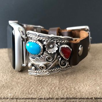 Apple Watch Band Native American Turquoise Sleep Beauty Vintage Yazzie Navajo Silver Watch Tips Custom Leather Band 38/40mm 42/44mm S1 2 3 4