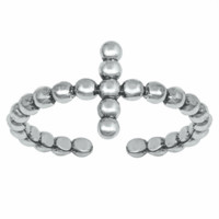 .925 Sterling Silver Sideways Cross Beaded Ladies and Kids Adjustable Size Ring Wrap Midi Knuckle Thumb Toe Vertical Upright