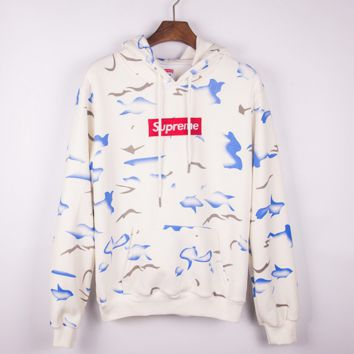 """""""Sumpreme"""" Tie-dye and embroidered hoodies round collar hoodie"""