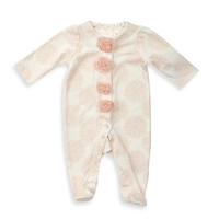 Sterling Baby Medallion Print Footie with Tulle Flowers in Coral