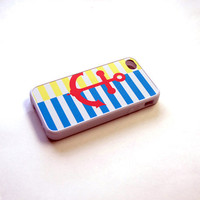 Nautical Anchor and Stripes Rubber Silicone Custom iPhone Case - unique iphone cases