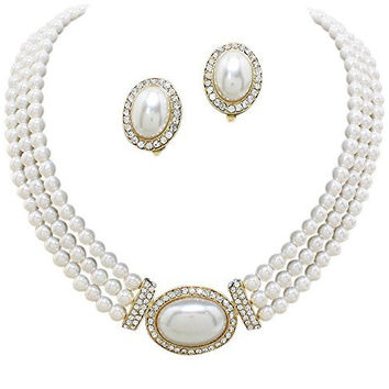 Elegant 3 Strand Cream Off White Pearl Tone Drop Bridal Necklace CLIP ON Earring Set W4