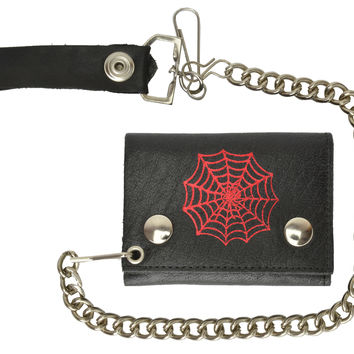 Genuine Leather Biker Trifold Chain Wallet Spider Web Imprint 946-45 (C)