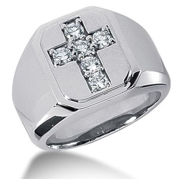 Round Brilliant Diamond Mens Ring in 14k white gold (0.3cttw, F-G Color, SI2 Clarity)