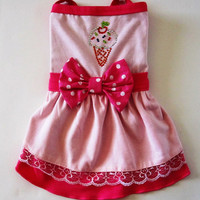 Dog Dress Pink Ice Cream Cone dog clothes Sizes 8 to 14 inch Length