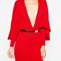 Oh My Love Cape Sleeve Dress With Gold Bar Belt at asos.com