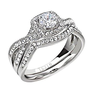 FlameReflection Stainless Steel Womens Infinity Wedding Ring Set Halo Round Cut Cubic Zirconia Size 511 SPJ
