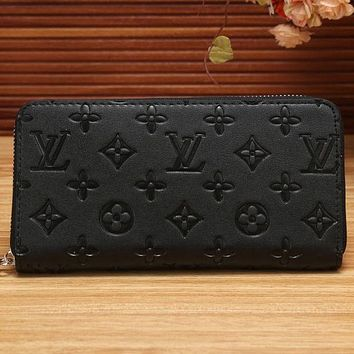 LV Louis Vuitton Fashion Leather Zipper Wallet Purse I