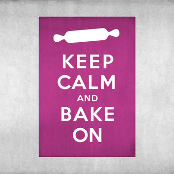 Keep Calm and Bake On Vintage Inspired 8x10 Poster Print by Caramel Expressions