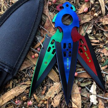 Zomb War 3 Pc Throwing Knife set Red, Green and Blue Colors With sheath