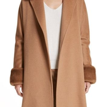 Max Mara Camel Hair Coat with Genuine Fox Fur & Genuine Mink Fur Trim | Nordstrom