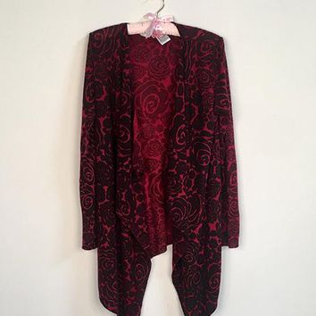 Red Rose Open Cardigan