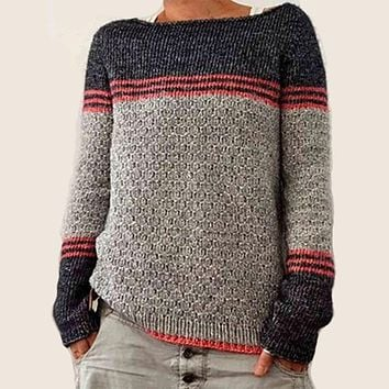 Scoop Neck Colorblock Stripes Knit Sweater