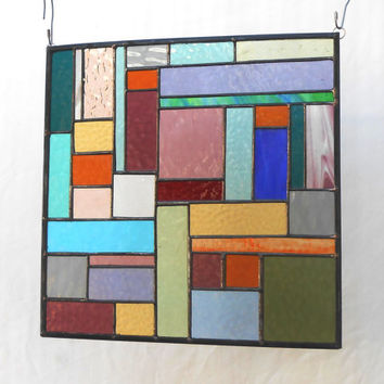 Patchwork Quilt Stained Glass Panel Window Treatment  Glass Crazy Quilt Suncatcher Window Valance Transom Handmade Home Decor