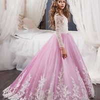 Long Sleeves Little Princess Flower Gilr Dress Pageant Dress  2T 3T 4T 5T 6T 7T