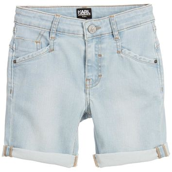 Karl Lagerfeld Boys Bleached Denim Shorts