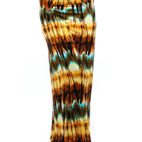LYSS LOO YELLOW TIE DYE PRINTED FOLD OVER MAXI SKIRT SK753 Summer Beach One Pieces Bottom In Home  Out of Home Women's