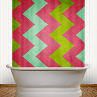 Cocktails with Lilly - Preppy Striped Chevron Shower Curtain - kids, teenage, teenager, bathroom, college, dorm, apartment, hot pink, lime