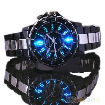 Steel LED light Men boy Quartz Sport Dial Wrist Watch [9305793479]
