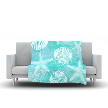 "Sylvia Cook ""Seaside"" Blue Teal Fleece Throw Blanket"