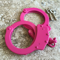 PINK Steel Hand Handcuffs Police Double Locking Real Lock Cuffs with 2 keys