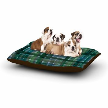 "Ebi Emporium ""PLAID FOR YOU, GREEN BLUE"" Green Blue Stripes Pattern Mixed Media Painting Dog Bed"