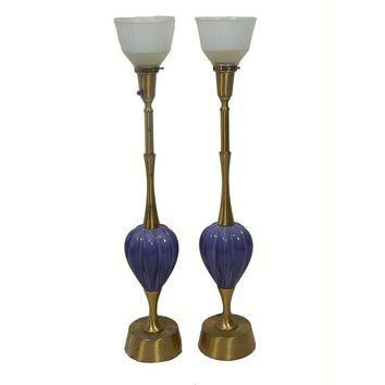 Pre-owned Rembrandt Lapis Blue & Brass Lamps - A Pair