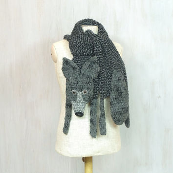 Wolf scarf — handmade long shawl, black grey, knitted, crochet, for animal lovers, animal scarf, Christmas gift, wild animal, OOAK