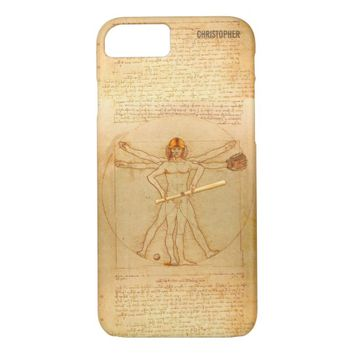 Leonardo Vitruvian Man As Baseball Player iPhone 7 Case
