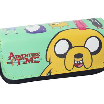 Adventure Time Bag Wallet High-capacity Double Zipper Pen Pencil Purse Kids Students Cartoon Stationary Bags PU Leather Wallets