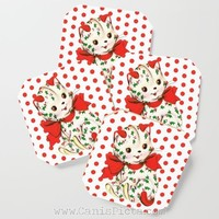 Christmas Kitten COASTERS Mug Cup Drink Beverage Place Holder Pop Cute Cat Kitty Xmas Holiday Red White Mistletoe Vintage Retro Polka Dots