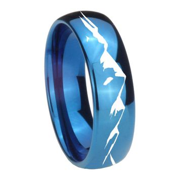 8MM Glossy Blue Dome Sound Wave I love you Tungsten Carbide Laser Engraved Ring