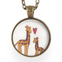Mother And Baby Giraffe Necklace