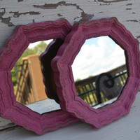 Small Mirrors upcycled pink paint pair bright housewares modern home decor