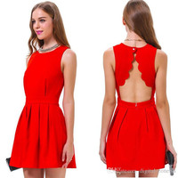 New Arrivals Women Girls Fashion Red Sleeveless Backless Night out Dresses Knee Length Pleated Party Club Dress for Girls