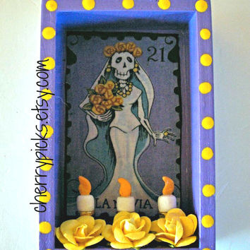 Dia De Los Muertos Shrine Loteria Decor Day Of The Dead Nicho La Novia (The Bride)
