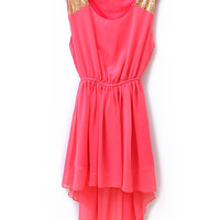 Sequined Solid Waist Irregular Chiffon Dress Red - Sheinside.com