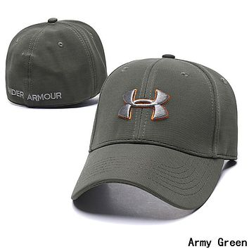 Under Armour Fashion Women Men Embroidery Sports Sun Hat Baseball Cap Hat Army Green
