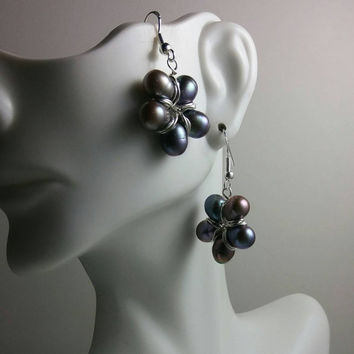 Pearl Flower Earrings in Sterling Silver,Deep Peacock Freshwater Pearl Earrings, Natural, Organic, Gift for Her, Gift for Women, Wife Gift