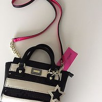 BNWT Betsey Johnson Black and White Stripe Mini Satchel Purse